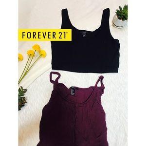 F21 Crop Tops - Black & Purple